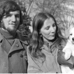 Hippie couple with puppy 'Mother'.