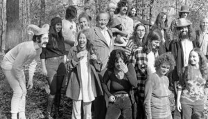 First row: Barbara Aiken, Stephanie Coffin, and Marjorie Jordan. Second row: Roger Friedman (wearing the ram's horns), Robin Boult, and Bob Dorland [RIP]. Third row: Lucia Droby, Morris Brown [RIP], Teddi Vaile, and me. Back row: Ron Ausburn [RIP], Candy Hamilton, Zachary Coffin being held by Joaquín Eugene Guerrero, Charlie Cushing, someone hidden, Nancy Jones Presley, Blues (Michael Teece), and Carter Tomassi.