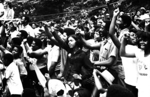 Black student activism in support of hippie concerns is often overlooked. Here, students from the Atlanta University Center sing and flash the power sign at a May, 1970 rally opposing the Vietnam War, the Orangeburg Massacre and Kent State killings. It wasn't all about white folks,